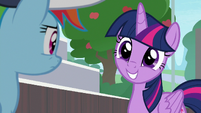 Twilight Sparkle with an innocent grin S9E15