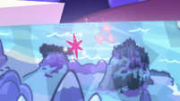 Twilight and Fluttershy's cutie marks float over Smokey Mountains S5E23