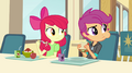 Apple Bloom and Scootaloo look at the Dazzlings EG2.png