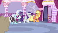 Applejack and other judges leave the sewing room S7E9