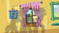 Applejack peering through window S01E18