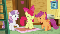 Cutie Mark Crusaders laughing together S7E21