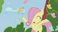Filly Fluttershy frolicking with butterflies S5E25