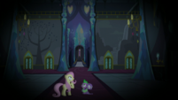 Fluttershy and Spike hear laughter upstairs S5E21