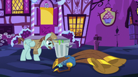 Janitor pony pushing a garbage can S8E18