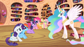 Main ponies unhappy in front of Celestia S2E3.png