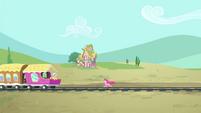 Pinkie running towards the train S4E11