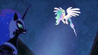 Princess Celestia flying above Nightmare Moon S4E2