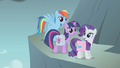 Rainbow Twilight and Rarity on side of mountain S1E7.png