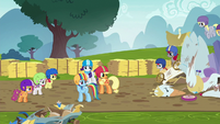 Rarity, AJ, and Dash look at other racers again S6E14