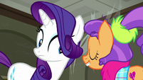 Rarity puts her ears closer to Plaid S6E9