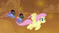 Sombrafied guards chasing Fluttershy S9E2