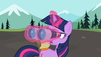 Twilight looking through binocular S2E07