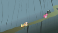 Applejack, Fluttershy, and Pinkie climbing the mountain S1E07.png