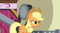 Applejack continues working cider press S8E24