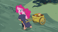 Cloaked pony pulling cart of pies S7E23