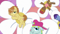 Feather Bangs and backup dancers on giant flowers S7E8.png