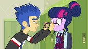 Flash placing Twilight's glasses on her face EG3