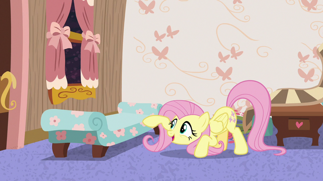 File:Fluttershy poking at Discord's chaise lounge S7E12.png