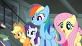 Fluttershy telling Daring Do that Rainbow wants to help S4E04.png