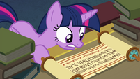 Princess Twilight reading Clover's scroll again EGFF
