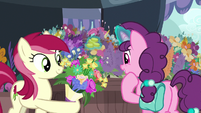 Rose giving flowers to Sugar Belle S9E23