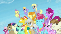 Several ponies happy and smiling S5E26
