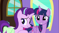 Starlight and Trixie look nervously at Trixie S7E2