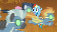 Wonderbolts fly past RD and Fluttershy S9E2