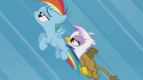 Young Rainbow and Gilda fly together S5E8