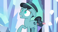 Crystal Hoof with glowing changeling eyes S6E16