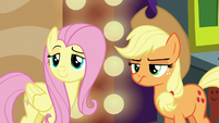 Fluttershy coy and Applejack sneering S6E20