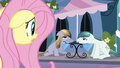 Fluttershy gasping at two locals S3E1.png