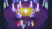 Mane 6 and Spike enter the throne room S4E26