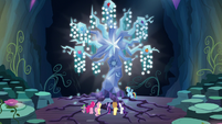 Mane Six and Spike in front of Tree of Harmony S9E1