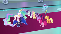 Mane Six and princesses laugh at Discord S9E2