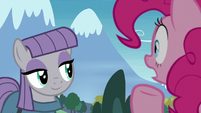 Pinkie Pie shocked by Maud Pie's smile S8E3