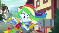 Rainbow Dash leaves an invitation in a mailbox EG4