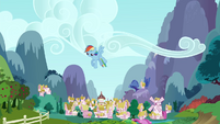 Rainbow Dash sulking in the sky S4E21