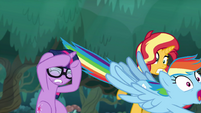 Rainbow speeds past Sunset and Sci-Twi EGSB