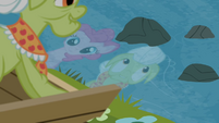Reflections of Pinkie and Granny Smith on the river S4E09