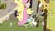S07E12 Fluttershy i Discord śmieją się wisząc do góry nogami