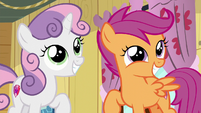 Sweetie Belle and Scootaloo smiling S6E4