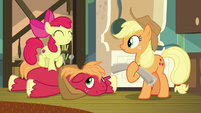 Apple Bloom delightedly dancing on Big Mac S9E10