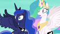 Celestia and Luna hear the dream battle rage on S7E10.png