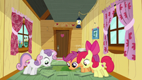 Cutie Mark Crusaders look through the hole S6E4