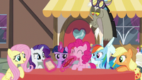 Discord poofs a quill and pad for Twilight S5E22
