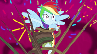 Explosion of sprinkles behind Rainbow Dash EG4