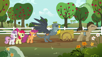 Gabby pushes Dr. Hooves' cart out of the mud S6E19