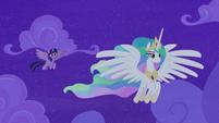 Princess Celestia flying away from Twilight S8E7